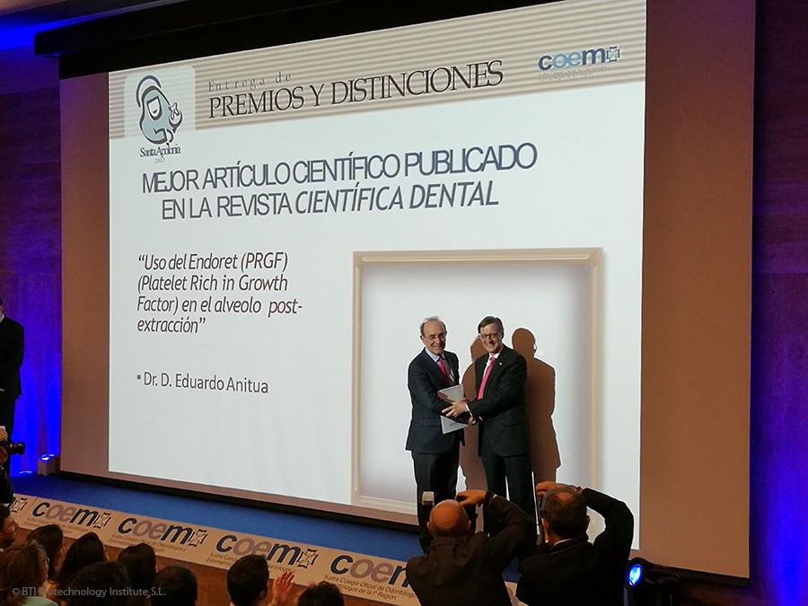 Eduardo Anitua, premio al mejor artículo científico en la revista Científica Dental del COEM